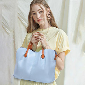 2 In 1 Leather Shopper Tote Bag