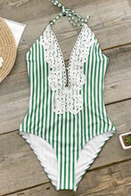 Load image into Gallery viewer, Green Stripe Lace One-Piece Swimsuit.c