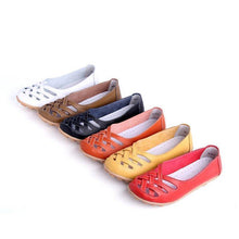 Load image into Gallery viewer, Hollow-Out Split Leather Slip-On Women's Flats