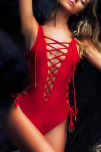 New Sexy Lace-up One Piece Swimsuit.MO