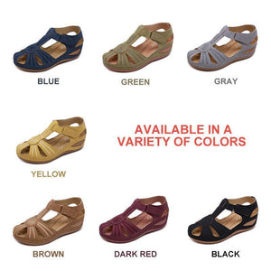 Hollow Out Lightweight Breathable Velcro Pure Color Sandals