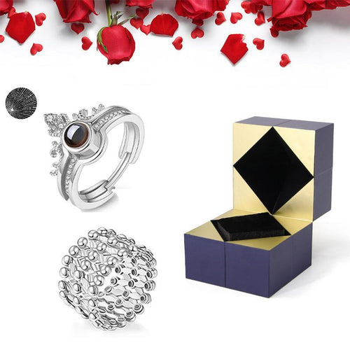 S925 Silver Ring, Bracelet And Puzzle Jewelry Box