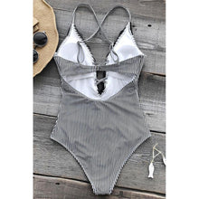 Load image into Gallery viewer, Lace Stripe One-Piece Swimsuit