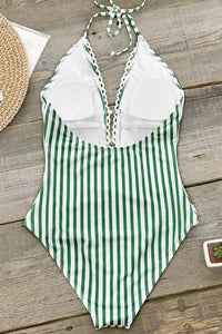 Green Stripe Lace One-Piece Swimsuit.c