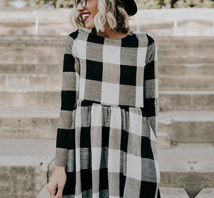 New Fashion Round Collar Square Long-Sleeved Dress.AQ