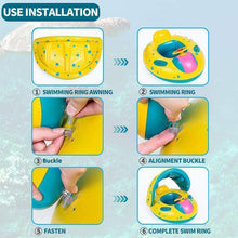 Load image into Gallery viewer, Baby Swim Ring Sunshade Baby Float Boat Seat