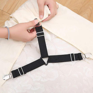 Bed Sheet Fasteners, 8 Pack Adjustable Triangle  Elastic Band Straps