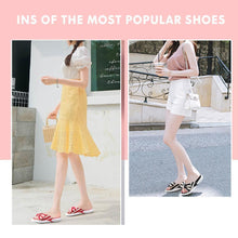Load image into Gallery viewer, Fashion Open Toe Wedges Bowties Stripe Slides Slippers