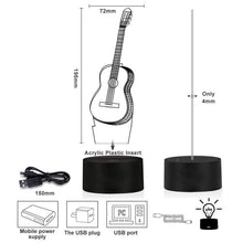 Load image into Gallery viewer, 3D  guitar lamp 7 Color Changing Night Light