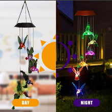 Load image into Gallery viewer, Color-Changing Solar LED Waterproof Hummingbird Wind Chimes