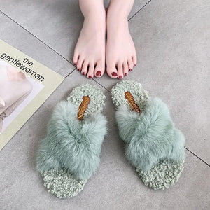 cute fluffy plush slippers