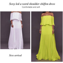 Load image into Gallery viewer, One-word Collar Pleated Maxi Prom Dress
