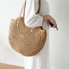Load image into Gallery viewer, Hand Woven Round Ladies Bohemian Summer Straw Beach Bag