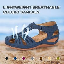 Load image into Gallery viewer, Hollow Out Lightweight Breathable Velcro Pure Color Sandals