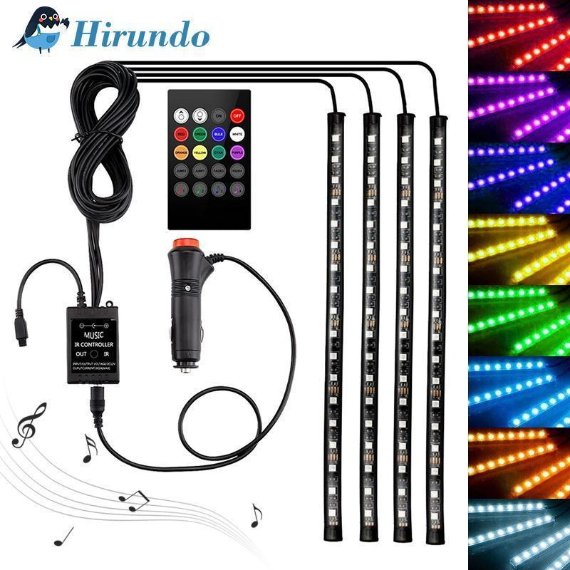 Hirundo Car Interior Lights with Sound Active Function and Wireless Remote Control