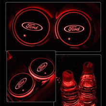 Load image into Gallery viewer, 7 Colors Led Changing USB Charging Car Logo Cup Lights up Holder