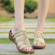 Load image into Gallery viewer, Hollow Out Weave Opened Toe Rhinestone Wedges Slippers