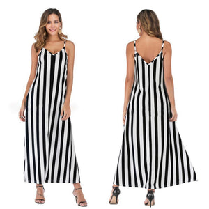 Casual Striped Straps Overhead Summer Dress