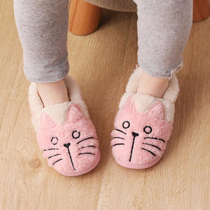 Cute Fluffy Cat Plush Slippers for Kids