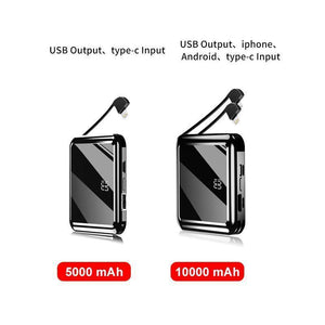 Mini Power Bank Portable Charger 10000mAh High Capacity with LCD mirror Display