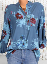 Load image into Gallery viewer, Floral Casual Stand Collar Long Sleeve Blouses TOPS.FL