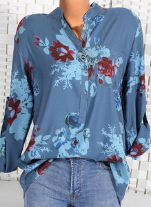 Floral Casual Stand Collar Long Sleeve Blouses TOPS.FL