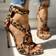 Load image into Gallery viewer, Leopard crossed sandals with back zipper