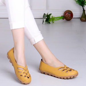 Hollow-Out Split Leather Slip-On Women's Flats