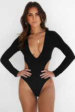 Load image into Gallery viewer, New Deep V Cutout High Cut Monokini One Piece Swimsuit in Black.MC