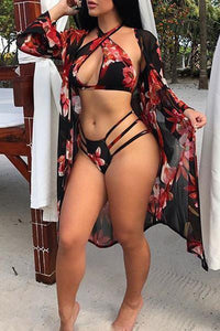 High Leg Halter Bikini & Beach Robe Swim Cover Up.i