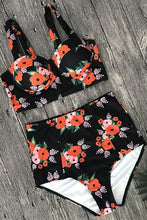 Load image into Gallery viewer, New High Waist Floral Printed Underwire Crop Bikini Swimsuit in Black.MC
