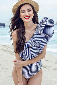 New Cutout Back Layered Ruffle One Shoulder One Piece Swimsuit in Stripe.MC
