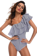 Load image into Gallery viewer, New Cutout Back Layered Ruffle One Shoulder One Piece Swimsuit in Stripe.MC