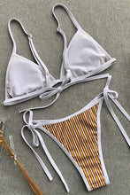 Load image into Gallery viewer, New Tied Side String Triangle Brazilian Bikini Swimsuit in Striped.MC