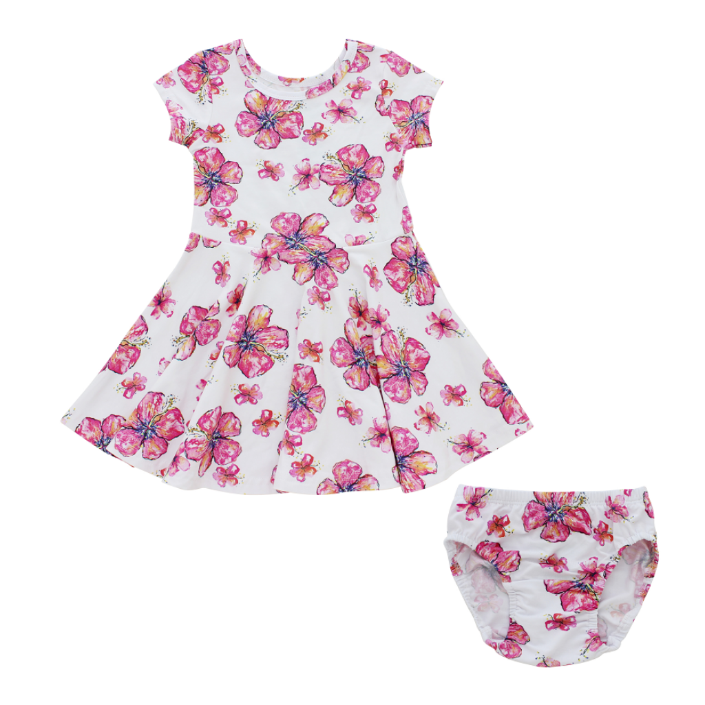 Hibiscus Infant T-Shirt Dress + Bloomers