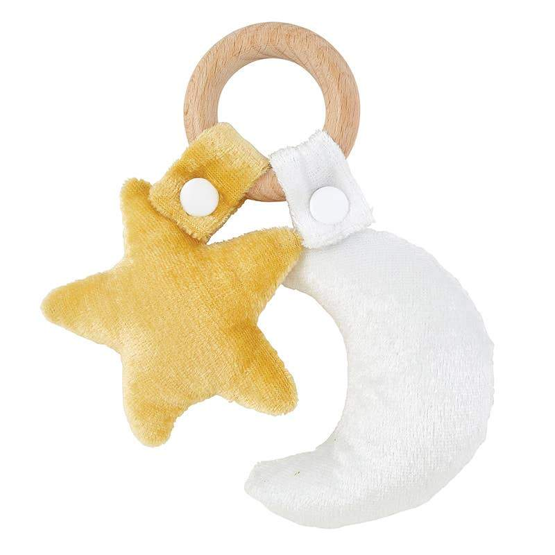 Star Moon Wood Teether Toy - Hawaiian Children's Books