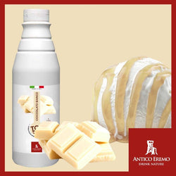White Chocolate Topping Syrup - 6 bottles x 2.2 lbs - Imported from Italy