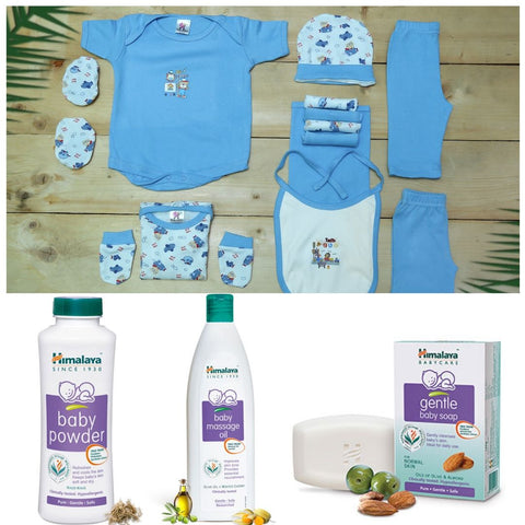 New Born Gift Set-13 PCS (Pink) + Himalaya Baby Powder + Himalaya BabMassage Oil + Himalaya Gentle Baby Soap
