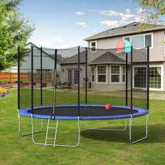 12FT Round Trampoline with Safety Enclosure Net & Ladder, Spring Cover Padding, Basketball Hoop, Outdoor Activity