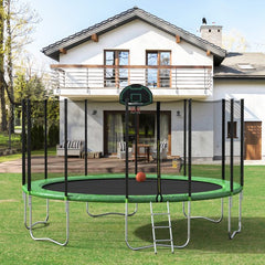 16FT Round Trampoline with Safety Enclosure Net & Ladder, Spring Cover Padding, Basketball Hoop, Outdoor Activity