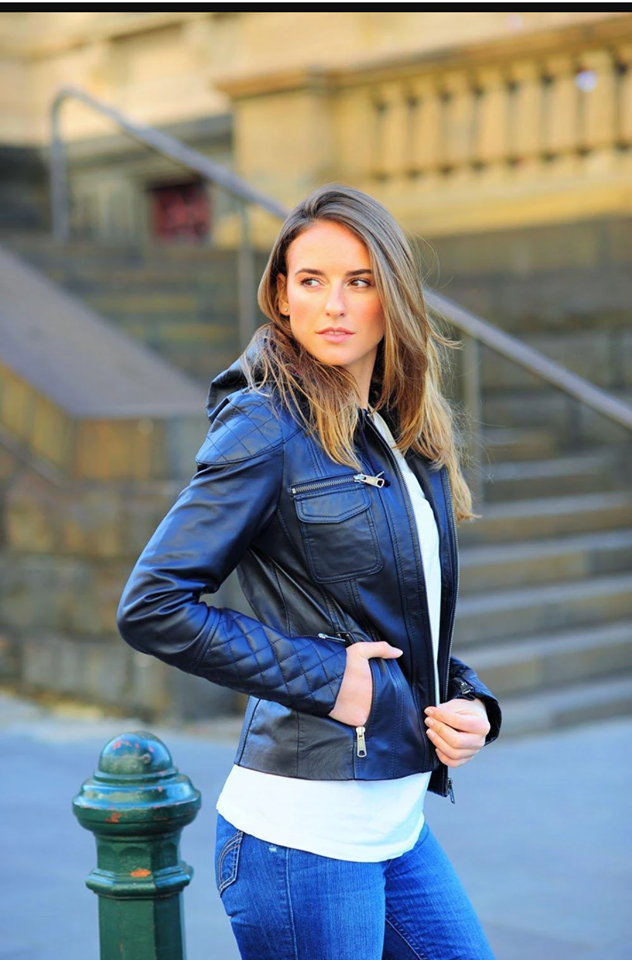 Hooded Women's Leather Jacket