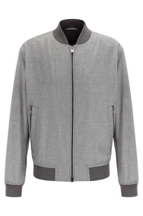 Blouson-style bomber jacket in virgin-wool flannel