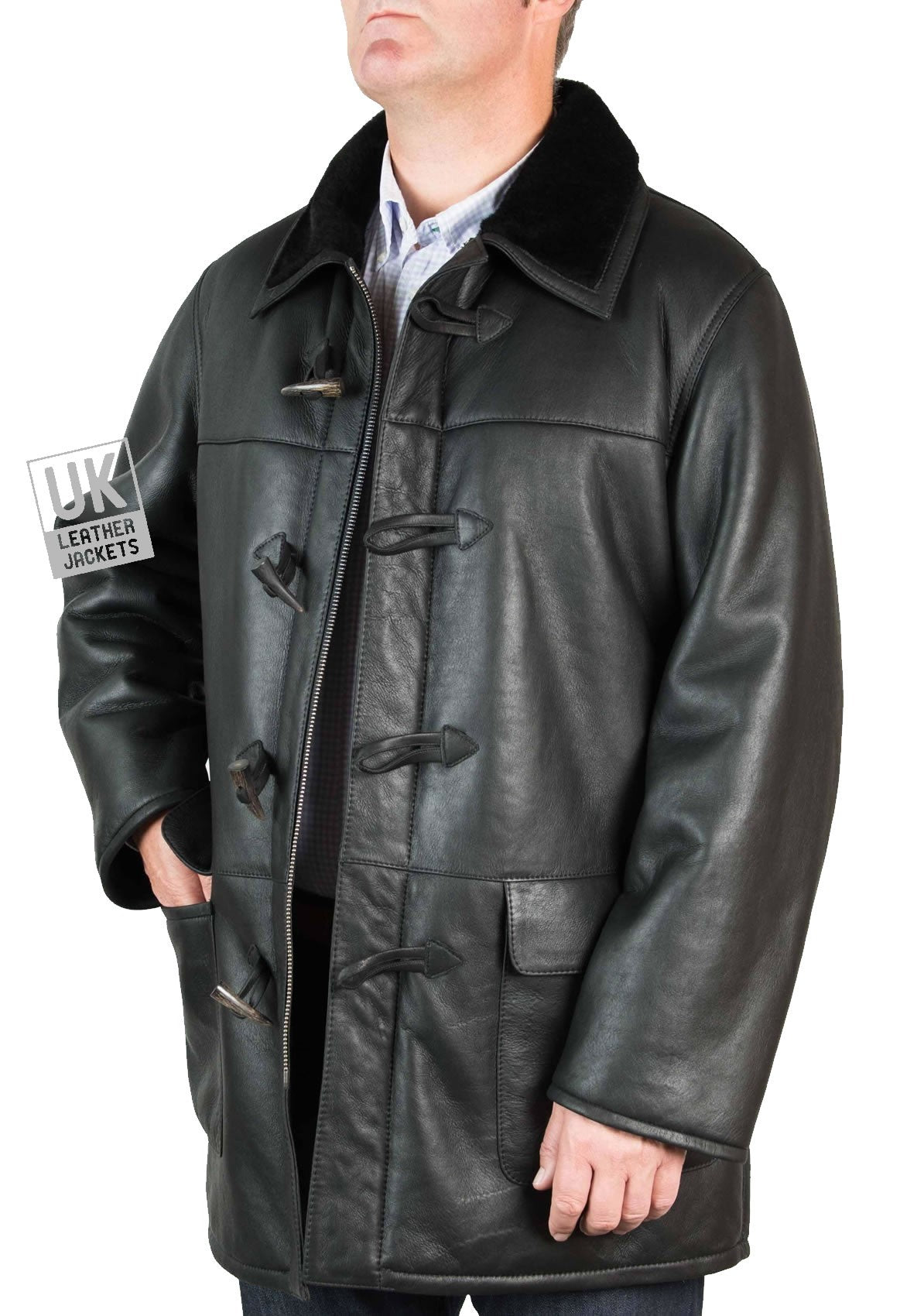 Finest Men's Black Shearling Sheepskin Duffle Coat