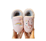 chaussons licorne rose amour