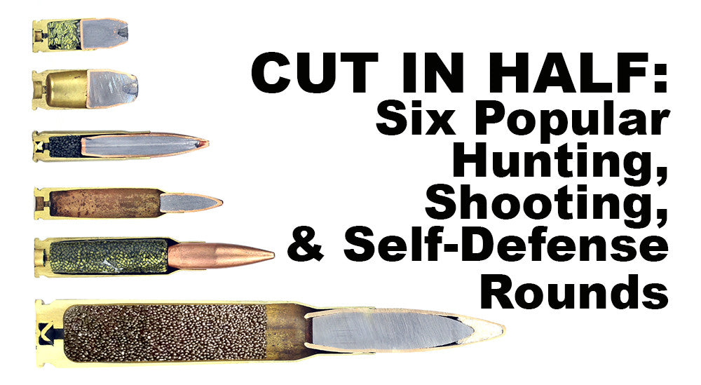 CUT IN HALF: Six Popular Hunting, Shooting, and Self-Defense Rounds