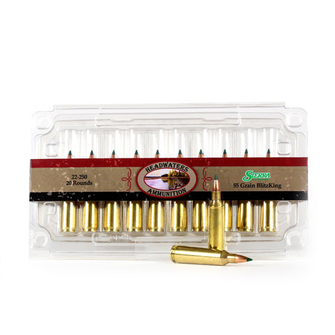 Headwaters Ammunition 22-250 Rem Sierra 55 Grain BlitzKing Box of 20 Rounds