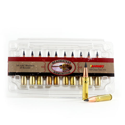 Headwaters Ammunition 300 AAC Blackout Supersonic Barnes 110 Grain TAC-TX Box of 20 Rounds