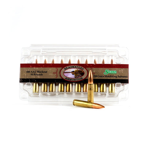 Headwaters Ammunition 300 AAC Blackout Subsonic Sierra 220 Grain MatchKing Hollow Point Boat Tail Box of 20 Rounds