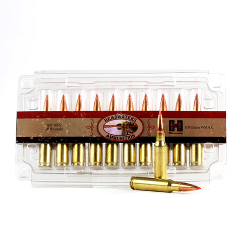 Headwaters Ammunition .308 Hornady 110 Grain V-MAX Box of 20 Rounds