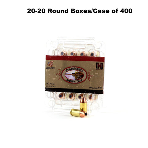 380 Auto Hornady 90 Grain XTP Box of 400 Rounds (20-20 Round boxes/case)